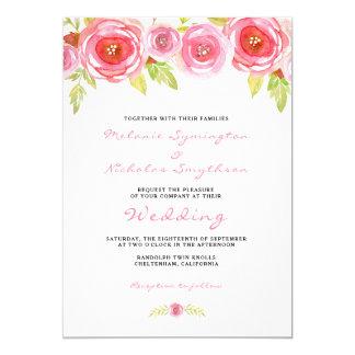 El boda floral de la acuarela rosada invita a 3605 invitación 12,7 x 17,8 cm