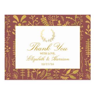El boda floral de la guirnalda del oro elegante le postal