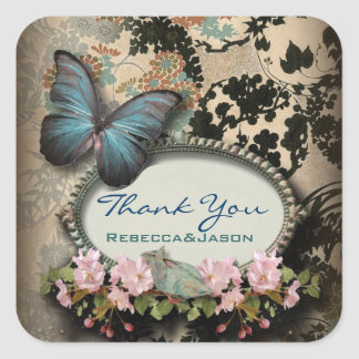 El boda floral de la mariposa azul del vintage le pegatina cuadrada