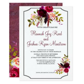 El boda floral de los rojos oscuros brillantes de invitación 12,7 x 17,8 cm