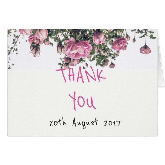 El boda floral le agradece cardar con los rosas tarjeta pequeña