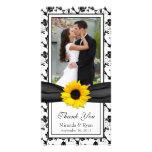 El boda floral negro de la cinta del girasol le ag plantilla para tarjeta de foto