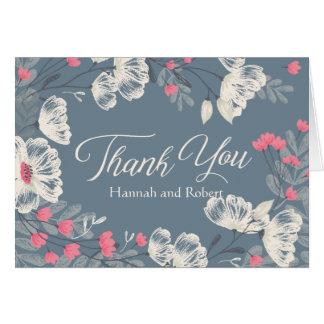"""El boda floral relacionado """"le agradece """" tarjeta pequeña"""