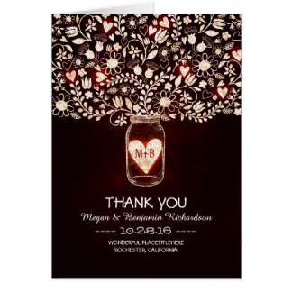 El boda floral rojo del tarro de albañil le tarjeta pequeña