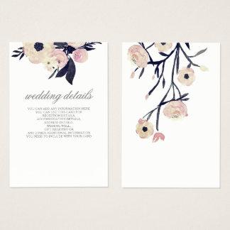 el boda floral rosado azul detalla tarjetas del