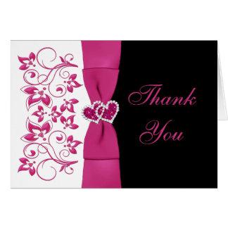 El boda floral rosado blanco negro le agradece c felicitacion