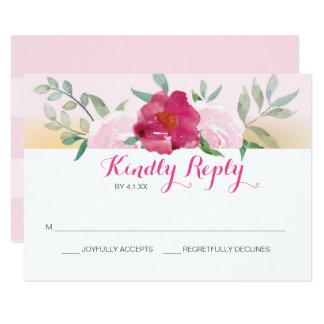 El boda floral rosado invita a la tarjeta de RSVP