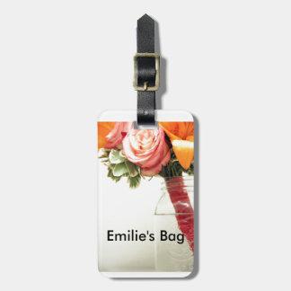 el boda florece personalizar anaranjado rosado del etiquetas para maletas