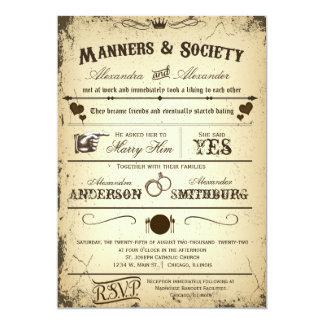 El boda formal del argumento de Playbill del Invitación 12,7 X 17,8 Cm