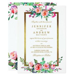 El boda formal elegante blanco del oro floral invitación 12,7 x 17,8 cm
