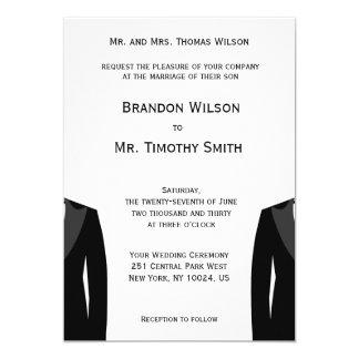 El boda gay blanco y negro de encargo invita invitación 12,7 x 17,8 cm