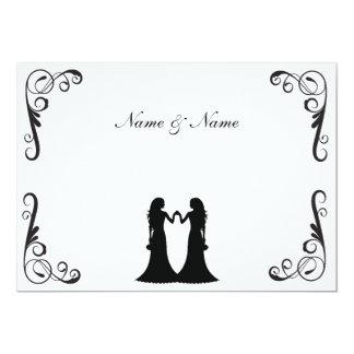 El boda gay invita - a dos novias blancos y negros invitación 12,7 x 17,8 cm