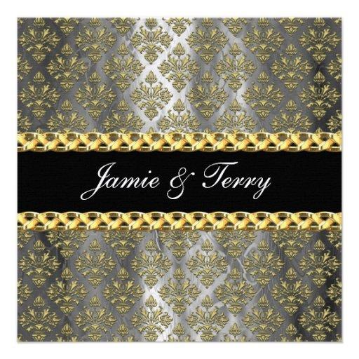 El boda gris del damasco del negro elegante del or invitaciones personalizada