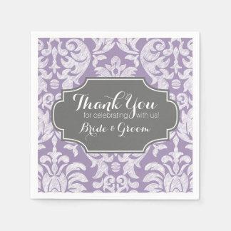 El boda gris púrpura del damasco del vintage le servilletas desechables