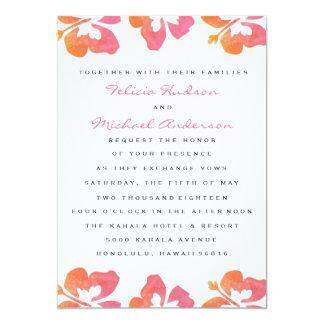 El boda hawaiano de la flor del hibisco de la invitación 12,7 x 17,8 cm