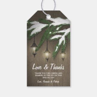 El boda imperecedero de la linterna de la nieve etiquetas para regalos