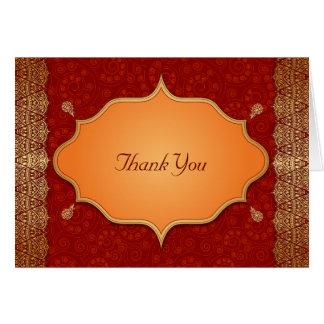 El boda indio dorado del marco del borde le tarjeta pequeña