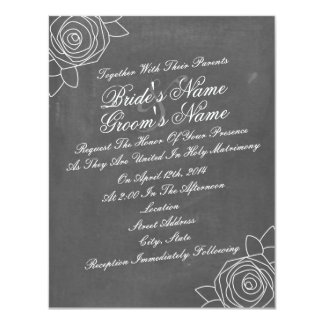 El boda inspirado tiza inclinado de los rosas invitación 10,8 x 13,9 cm