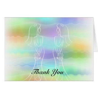 El boda lesbiano de las novias en colores pastel tarjeta pequeña
