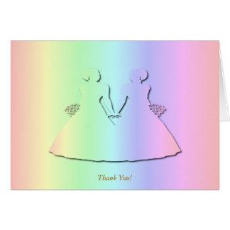 El boda lesbiano del arco iris en colores pastel felicitaciones