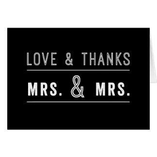 El boda lesbiano gay de los pares le agradece tarjetón