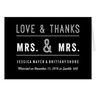 El boda lesbiano gay de los pares le agradece tarjeta de felicitación