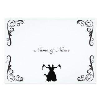 El boda lesbiano invita - a dos novias negro y invitación 12,7 x 17,8 cm