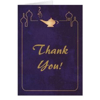 El boda mágico árabe de la lámpara le agradece las tarjeta pequeña