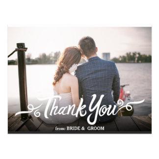 El boda manuscrito le agradece postal