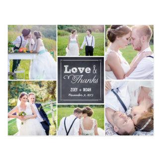 El boda marcado con tiza del collage le agradece c postal