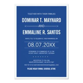 El boda minimalista moderno azul invita invitación 12,7 x 17,8 cm