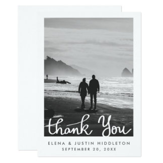 El boda mínimo simple le agradece foto de la invitación 12,7 x 17,8 cm