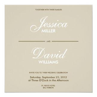 El boda moderno de Decorativ I del vintage invita Invitación 13,3 Cm X 13,3cm