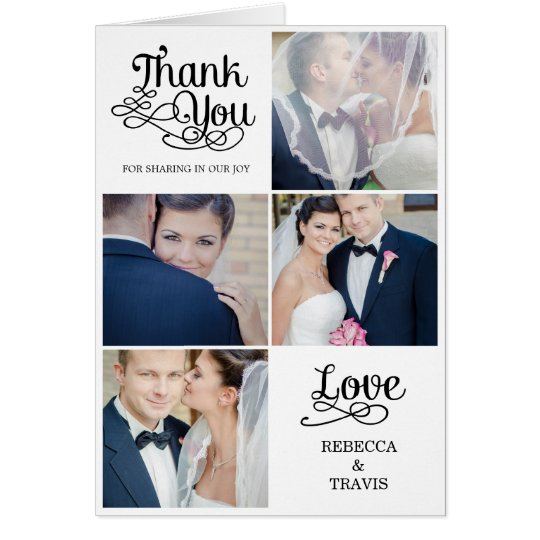 El boda moderno de la caligrafía le agradece tarjeta pequeña