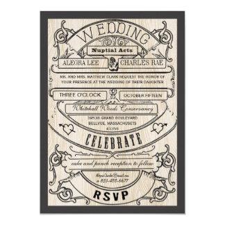 El boda moderno del boleto de la tipografía del invitación 12,7 x 17,8 cm