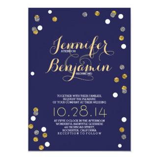 El boda moderno del confeti del oro y de la plata invitación 12,7 x 17,8 cm