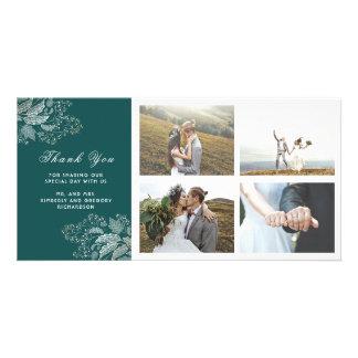El boda moderno floral del oro y del trullo le tarjeta