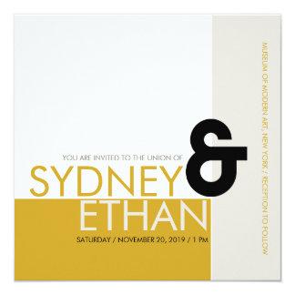 El boda moderno minimalista simple de Mondrian Invitacion Personal