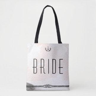 El boda náutico de la novia empaqueta el melocotón bolsa de tela