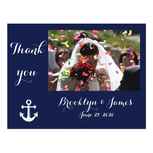 El boda náutico de los azules marinos le agradece postal