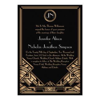 El boda negro del estilo de Gatsby del art déco de Invitacion Personal