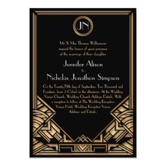 El boda negro del estilo de Gatsby del art déco Invitación 12,7 X 17,8 Cm
