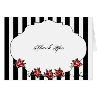 El boda negro del rosa blanco y rojo le agradece tarjeta pequeña