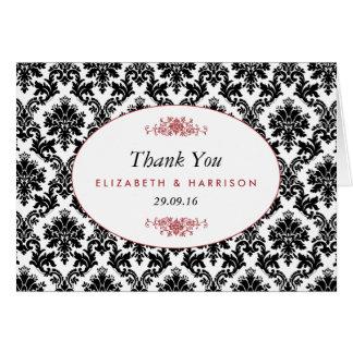 El boda negro del vintage y blanco rojo del tarjeta pequeña