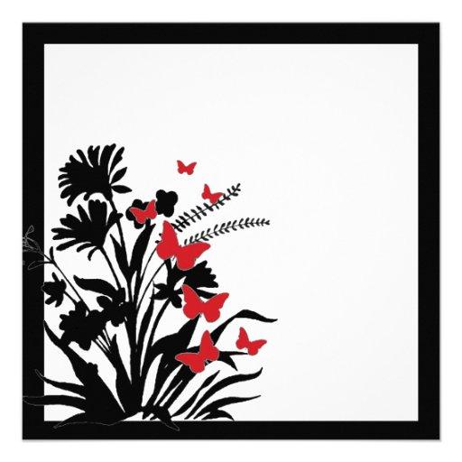 El boda negro rojo de la mariposa de la flor blanc invitación