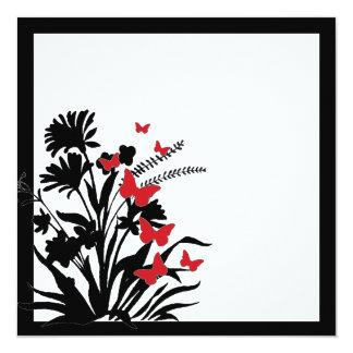 El boda negro rojo de la mariposa de la flor invitación 13,3 cm x 13,3cm