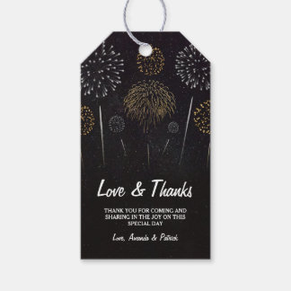 El boda negro temático del oro de los fuegos etiquetas para regalos