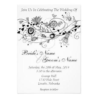 El boda negro y blanco caprichoso invita a B Anuncios Personalizados
