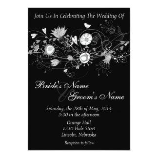 El boda negro y blanco caprichoso invita invitación 12,7 x 17,8 cm