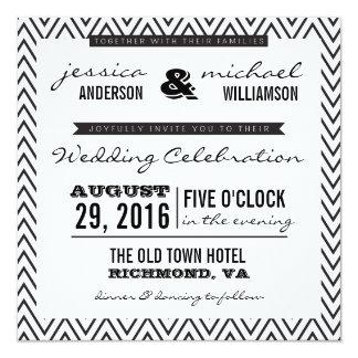 El boda negro y blanco de la tipografía de Chevron Invitación 13,3 Cm X 13,3cm